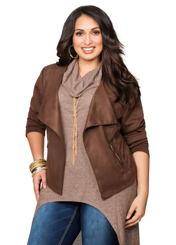 Coated Faux Suede Jacket
