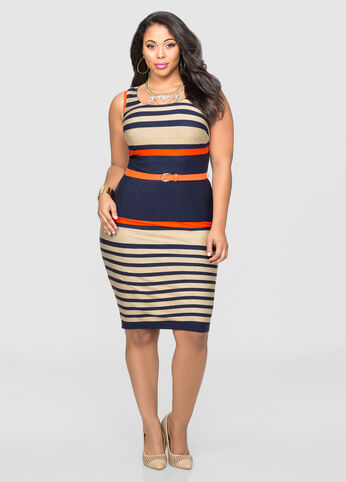 Belted Variegate Stripe Leather Trim Dress