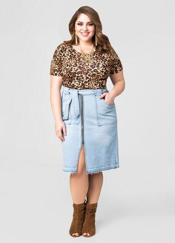 Midi Front Zip Jean Skirt