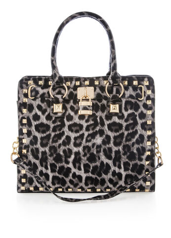 Studded Grey Leopard Print Tote