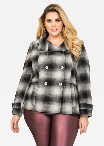 Hooded Plaid Peacoat