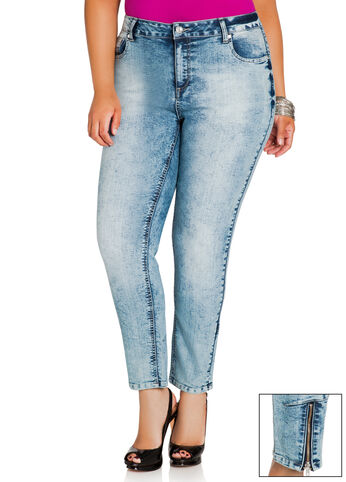 Zipper Ankle Cloud Wash Jeans
