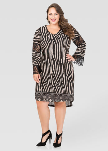 Lace Inset Zebra Hi-Lo Dress