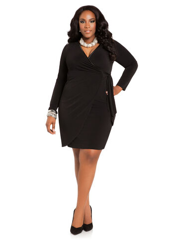 Faux Leather Trim Wrap Dress