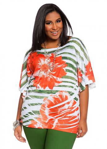 Tropical Water Striped Top