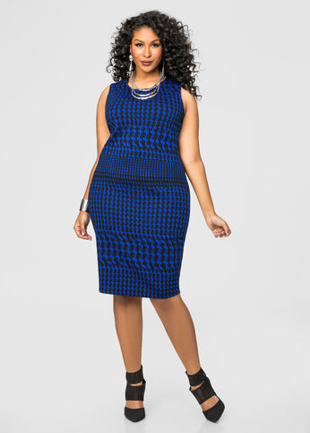 Flocked Houndstooth Sheath Dress