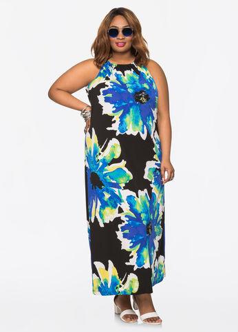 Halter Neck Floral Maxi Dress