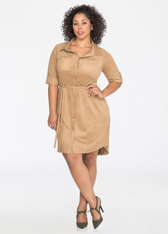 Belted Microsuede Shirtdress