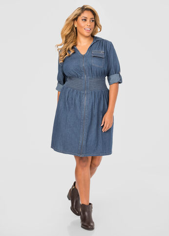 Smocked Front Zip Jean Dress
