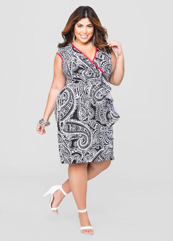 Tribal Scarf Ruffle Front Dress