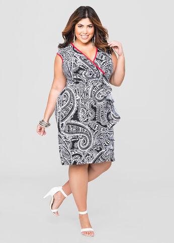 Tribal Scarf Ruffle Front Dress