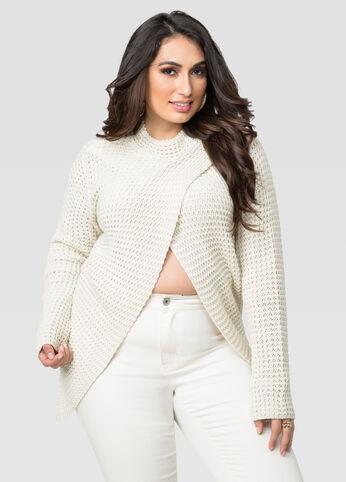 Mock Neck Cross Front Sweater