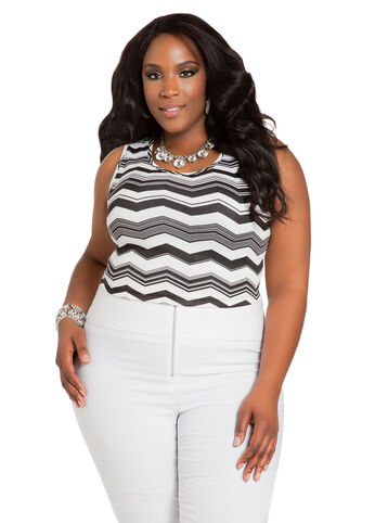 Chevron Sleeveless Crop Top