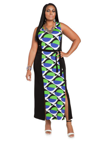 Geo Print Belted Maxi Dress