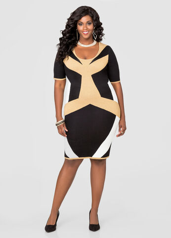 Geo Metallic Bodycon Sweater Dress