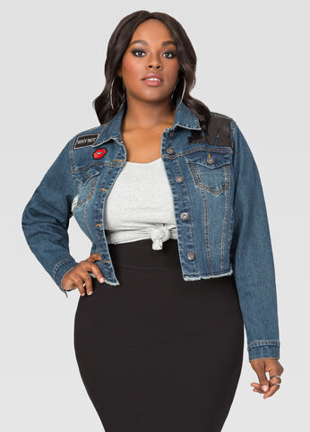 Appliqué Cropped Jean Jacket