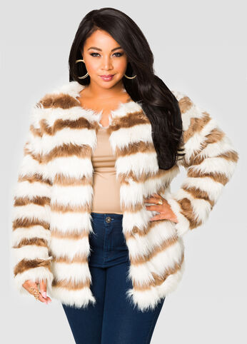 Striped Fur Jacket