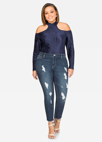 Mock Neck Velvet Burnout Bodysuit