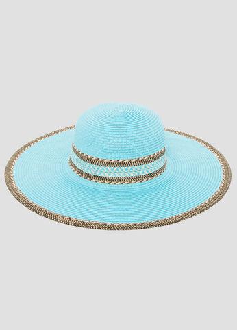 Contrast Straw Floppy Hat