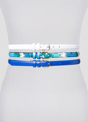 Textured Floral Solid Belt Trio