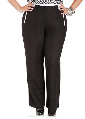 Color Block Linen Wide-Leg Pants