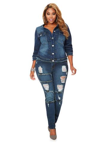 Patch Frayed Destructed Skinny Jean