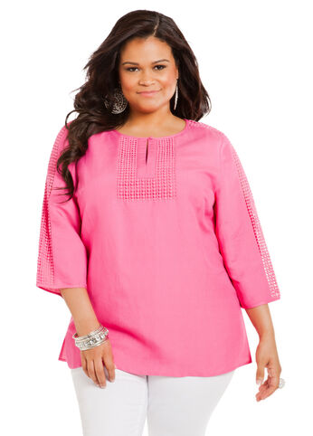 Linen Crochet Tunic Top