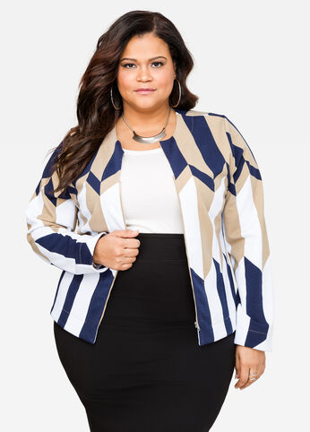 Abstract Stripe Zip Front Jacket 402009717475