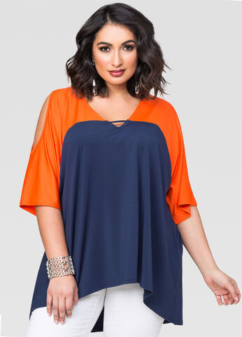 Cold Shoulder Hi-Lo Colorblock Top