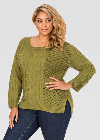 Cable Knit Hi-Lo Sweater