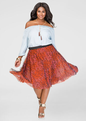 Animal Print Tulle Skirt