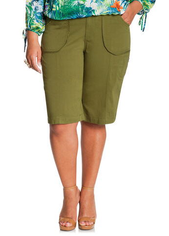 Poplin Bermuda Shorts w/ Zipper Detail