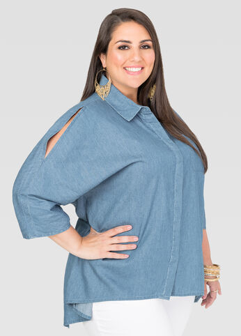 Hi-Lo Split Back Denim Shirt