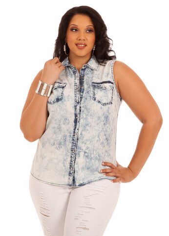 Acid Wash Sleeveless Denim Shirt