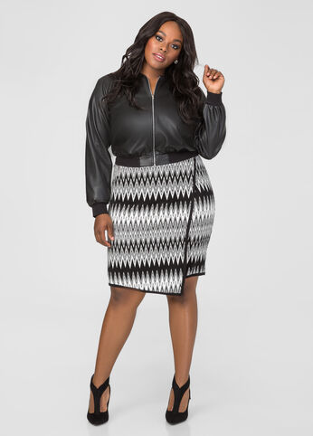 Faux Wrap Chevron Skirt