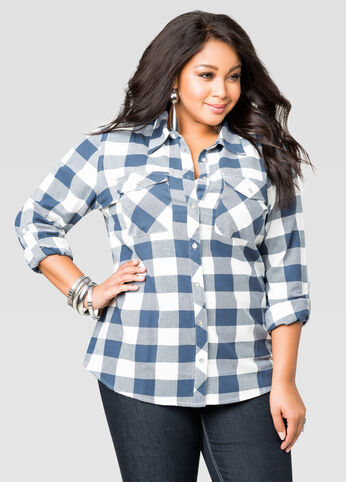 Buffalo Plaid Button Front Shirt