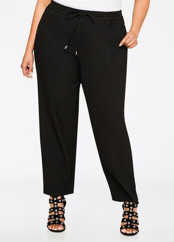 Drawstring Straight Leg Pant Black - Bottoms