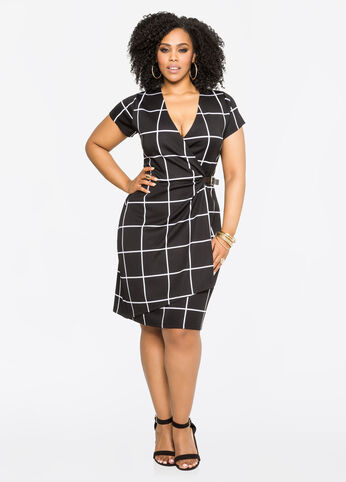 Windowpane Buckled Wrap Dress