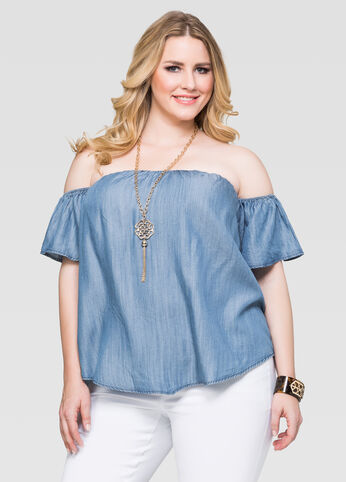 Denim Flutter Sleeve Peasant Top