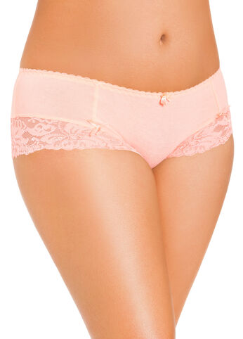 Coral Lace Trim Boy Leg Panties