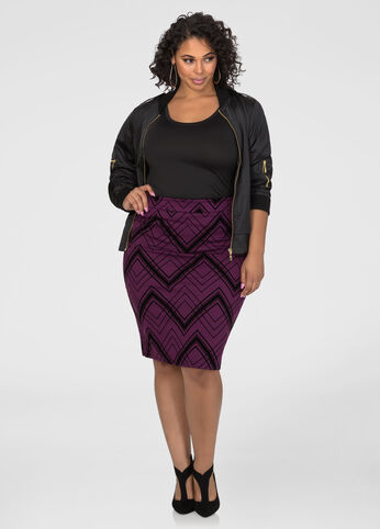 Flocked Pencil Skirt