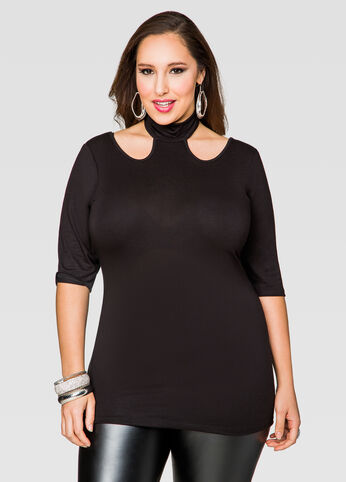 Mock Neck Front Cut-Out Top