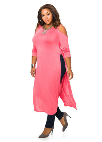 #ASGives Think Pink Cold Shoulder Duster
