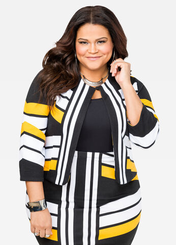 Vertical Stripe Cropped Jacket