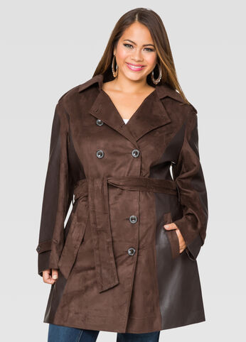 Belted Faux Suede Trench