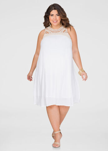 Gauze Crochet A-Line Dress