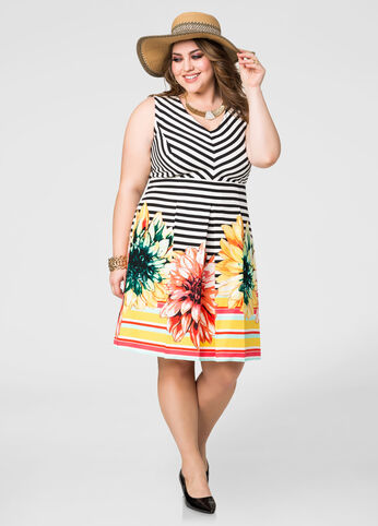 Floral Border Stripe Dress