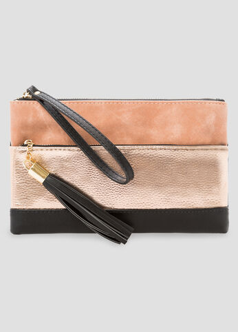 Colorblock Mixed Media Clutch at Ashley Stewart