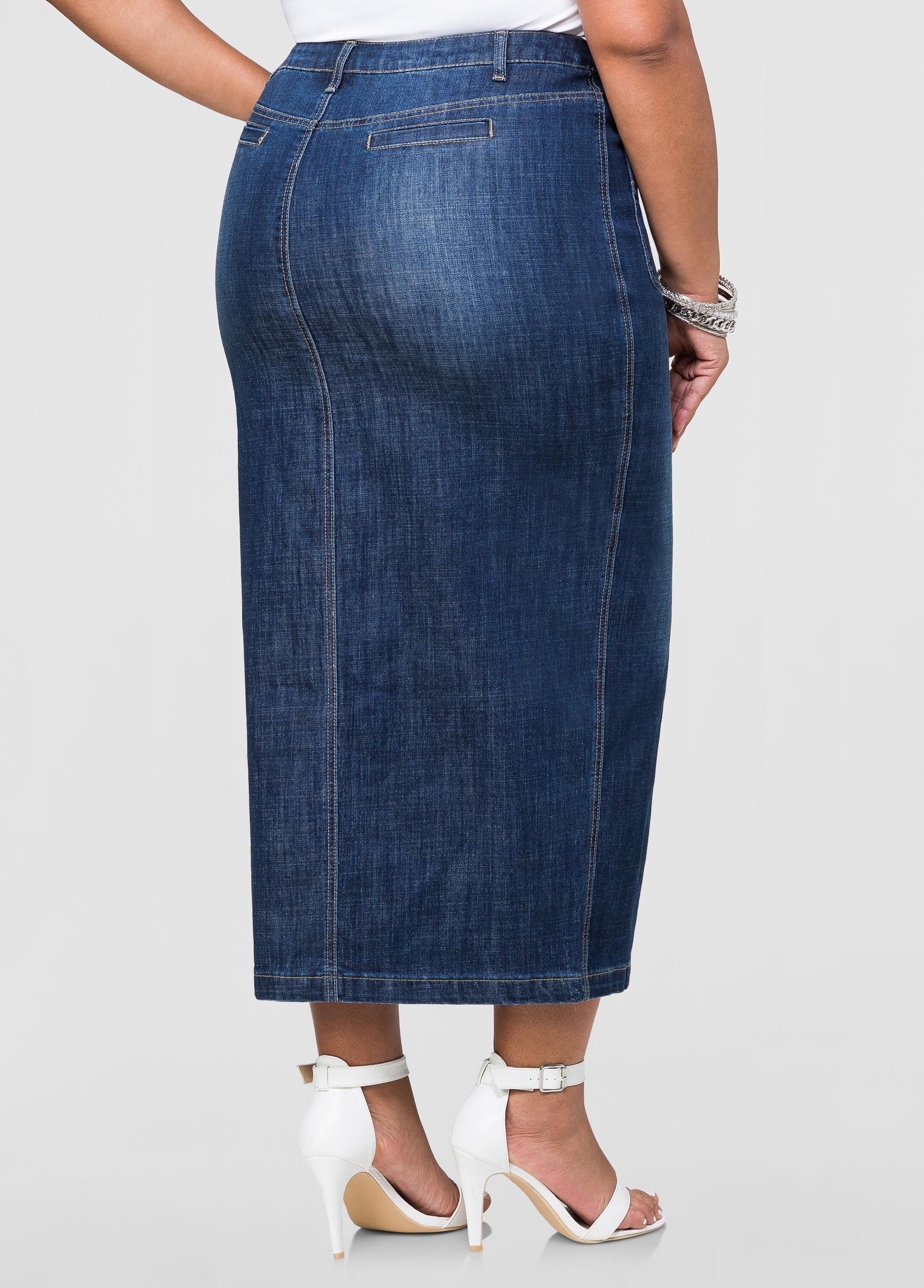 Plus Size Long Jean Skirts mRU6iLC6