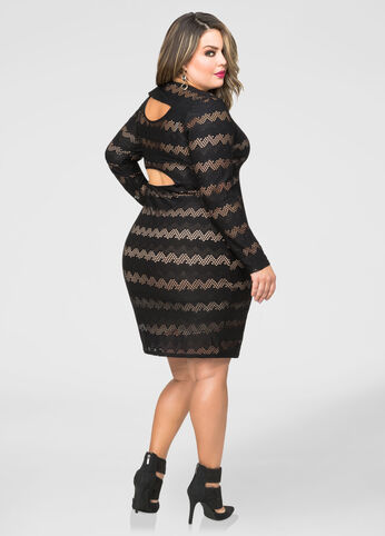 Scalloped Cut-Out Bodycon Dress